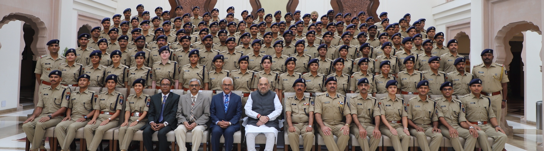 Union Minister for Home Affairs, Shri Amit Shah in a group photograph with the Probationers of 2018 Batch of Indian Police Service (IPS) in New Delhi, on October 7, 2019. Union Home Secretary, Shri Ajay Kumar Bhalla is also seen.