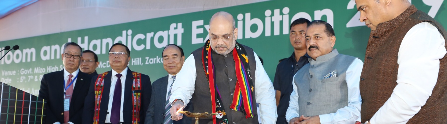 Union Minister for Home Affairs, Shri Amit Shah lighting the lamp at the inauguration of the North East Handloom and Handicraft Exhibition in Aizawl, Mizoram  on October 5, 2019.
