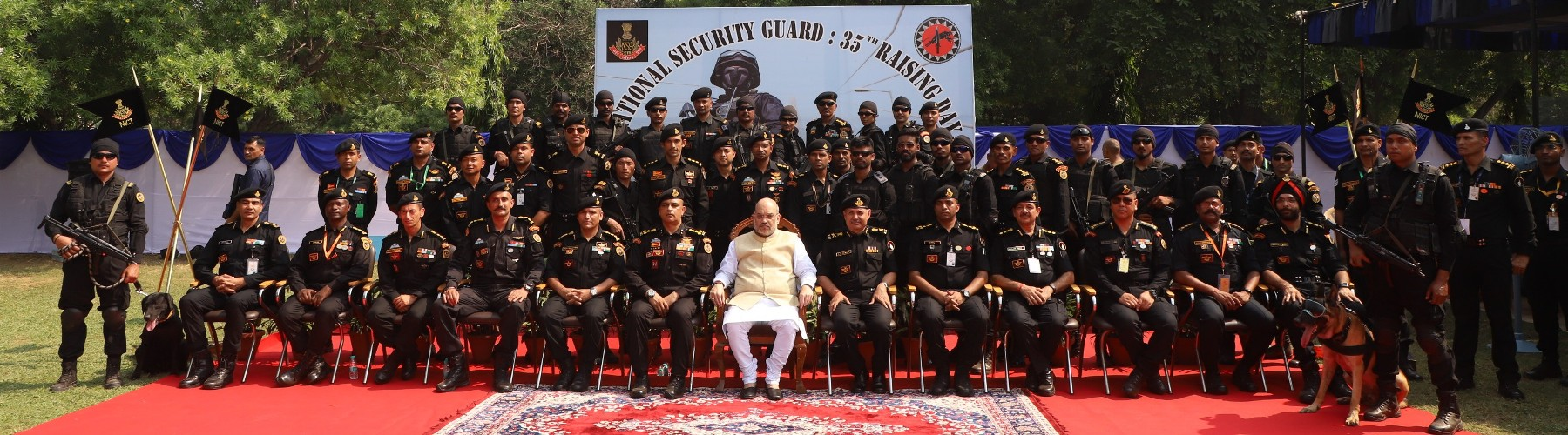 Union Minister of Home Affairs Shri Amit Shah with NSG personnel at NSG Raising Day celebrations in Manesar, Haryana on October 15, 2019