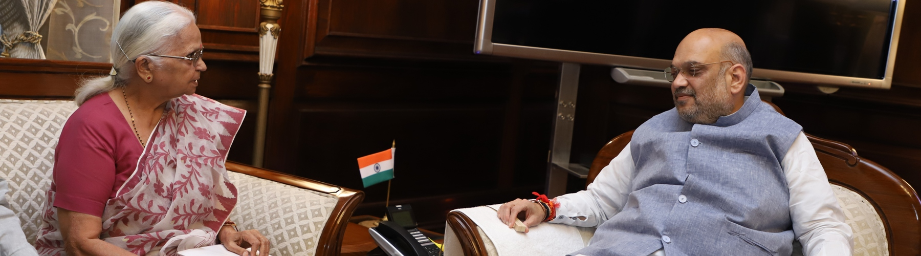 The Governor of Goa Smt. Mridula Sinha calling on Union Home Minister Shri Amit Shah in New Delhi on June 14, 2019.