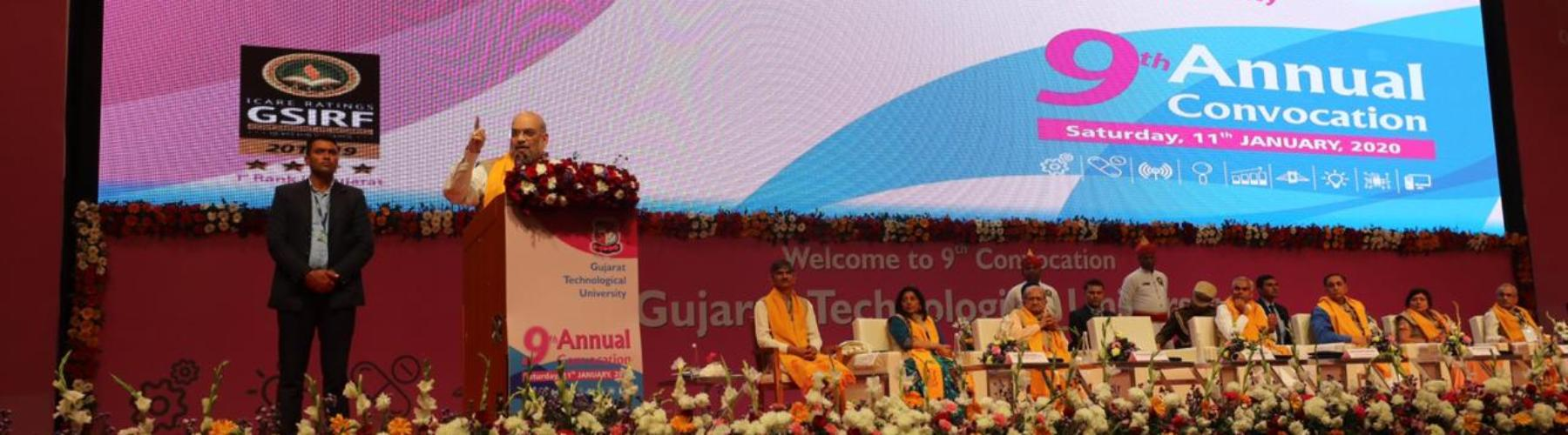 Union Home Minister, Shri Amit Shah addressing at the 9th Annual Convocation of Gujarat Technological University, in Gandhinagar, on January 11, 2020.