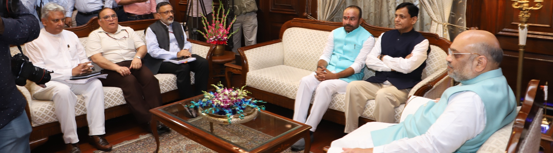 Home Minister Shri Amit Shah in a meeting with MoS Shri G. Kishan Reddy & Shri Nityanand Rai, after taking charge of office in New Delhi on 01.06.2019. Shri Rajiv Gauba, HS and other officers are also seen.