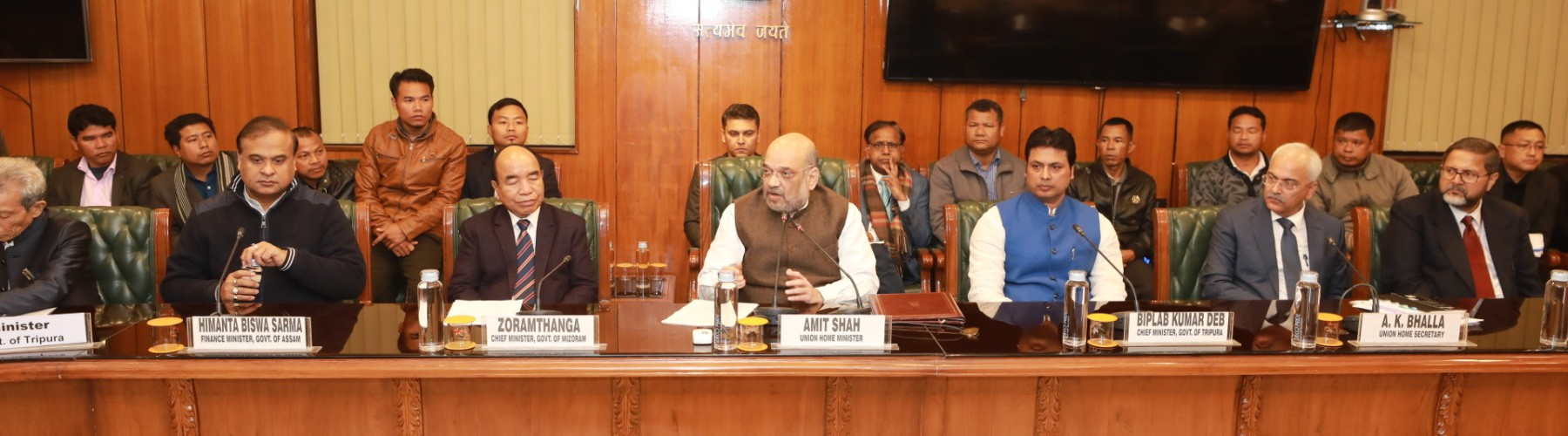 HM Shri Amit Shah presiding over the signing of an agreement to end the Bru-Reang Refugee Crisis  in Tripura , between Government of India, Governments of Tripura and Mizoram and Bru-Reang representatives in New Delhi, on Jan 16, 2020.