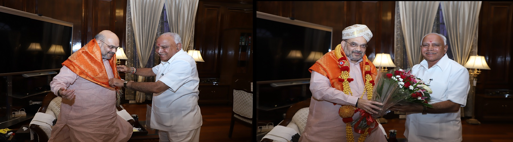 Union Minister of Home Affairs Shri Amit Shah meeting the Chief Minister of Karnataka, Shri B S Yediurappa in New Delhi on August 17, 2019.