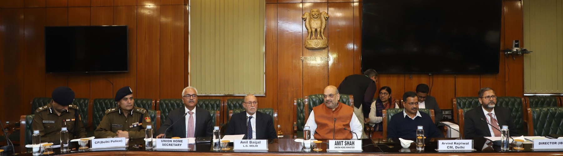 Union Home Minister Shri Amit Shah chairing a meeting in the wake of violence in Delhi, on February 25, 2020. The Lieutenant Governor of Delhi, Shri Anil Baijal and the Chief Minister of Delhi, Shri Arvind Kejriwal were also present