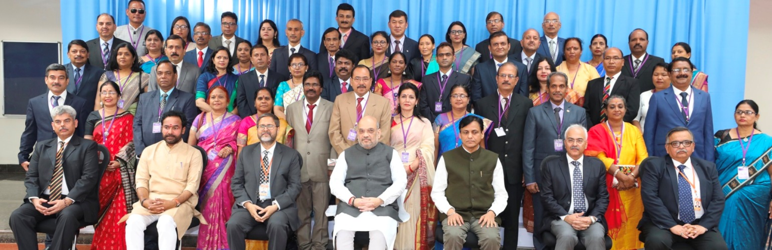 The Union Home Minister, Shri Amit Shah  with the senior Police Officers at the  All India conference of Director Generals/Inspector Generals of  Police-2019 in Pune, on December  06, 2019.