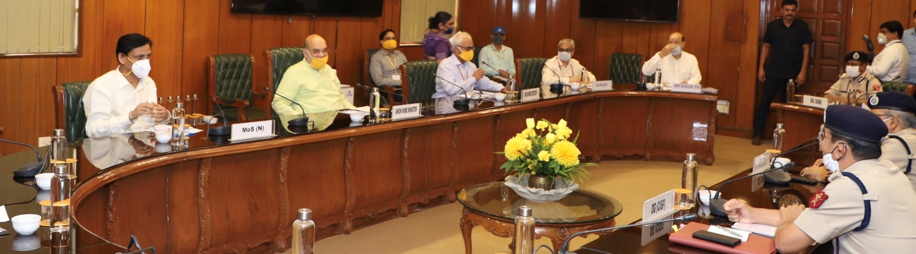 Union Minister for Home Affairs, Shri Amit Shah chaired a review meeting of Directors General of All Central Armed Police Forces, in New Delhi, on May 08, 2020.