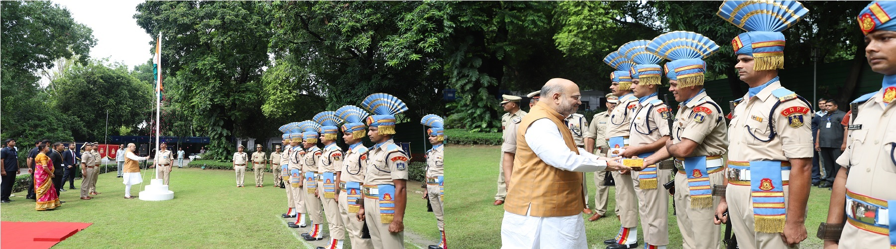 Union Minister for Home Affairs Shri Amit Shah celebrates Independence Day at his official residence and receives a Guard of Honour in New Delhi on August 15, 2019.