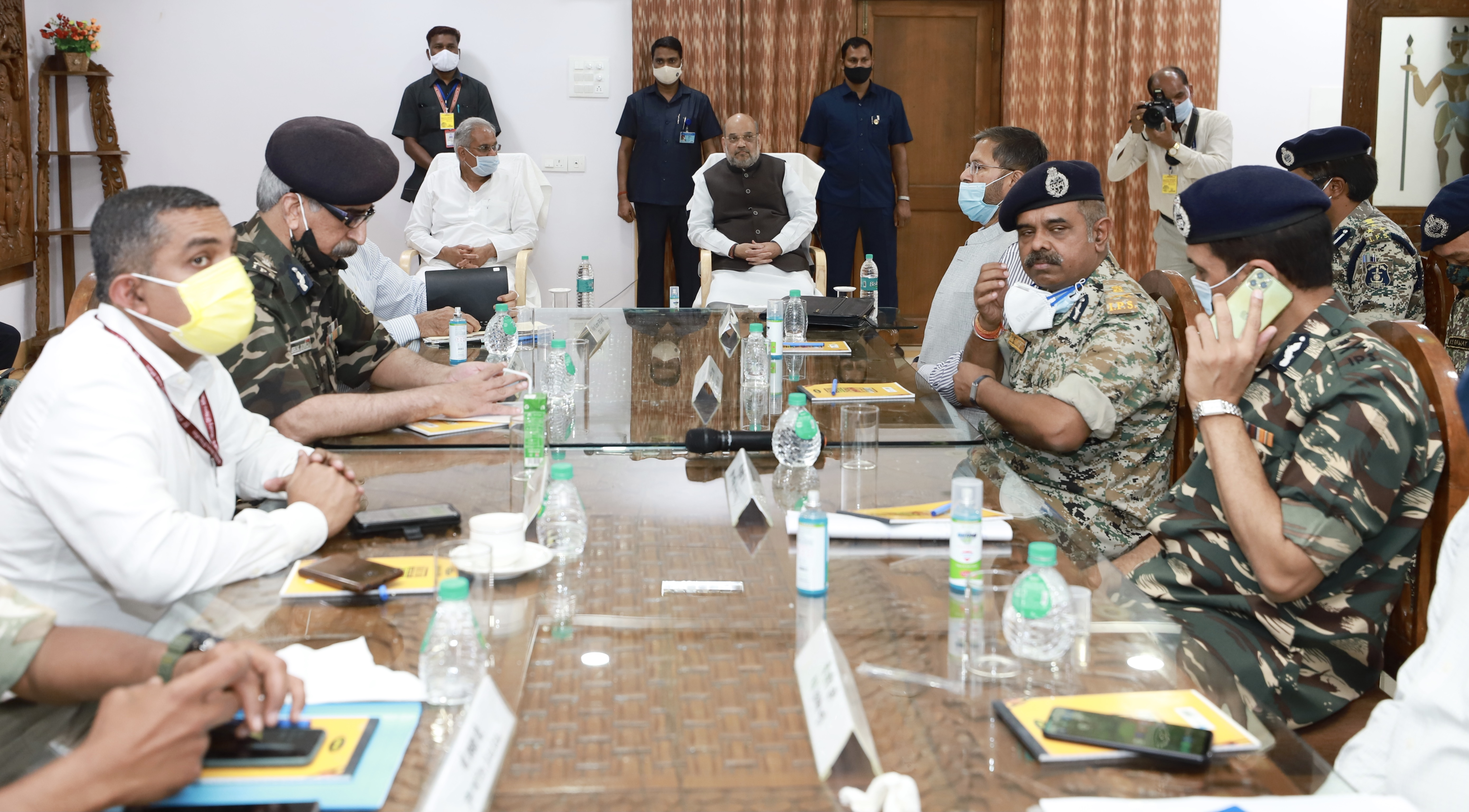 Minister Amit Shah chairing a LWE review meeting