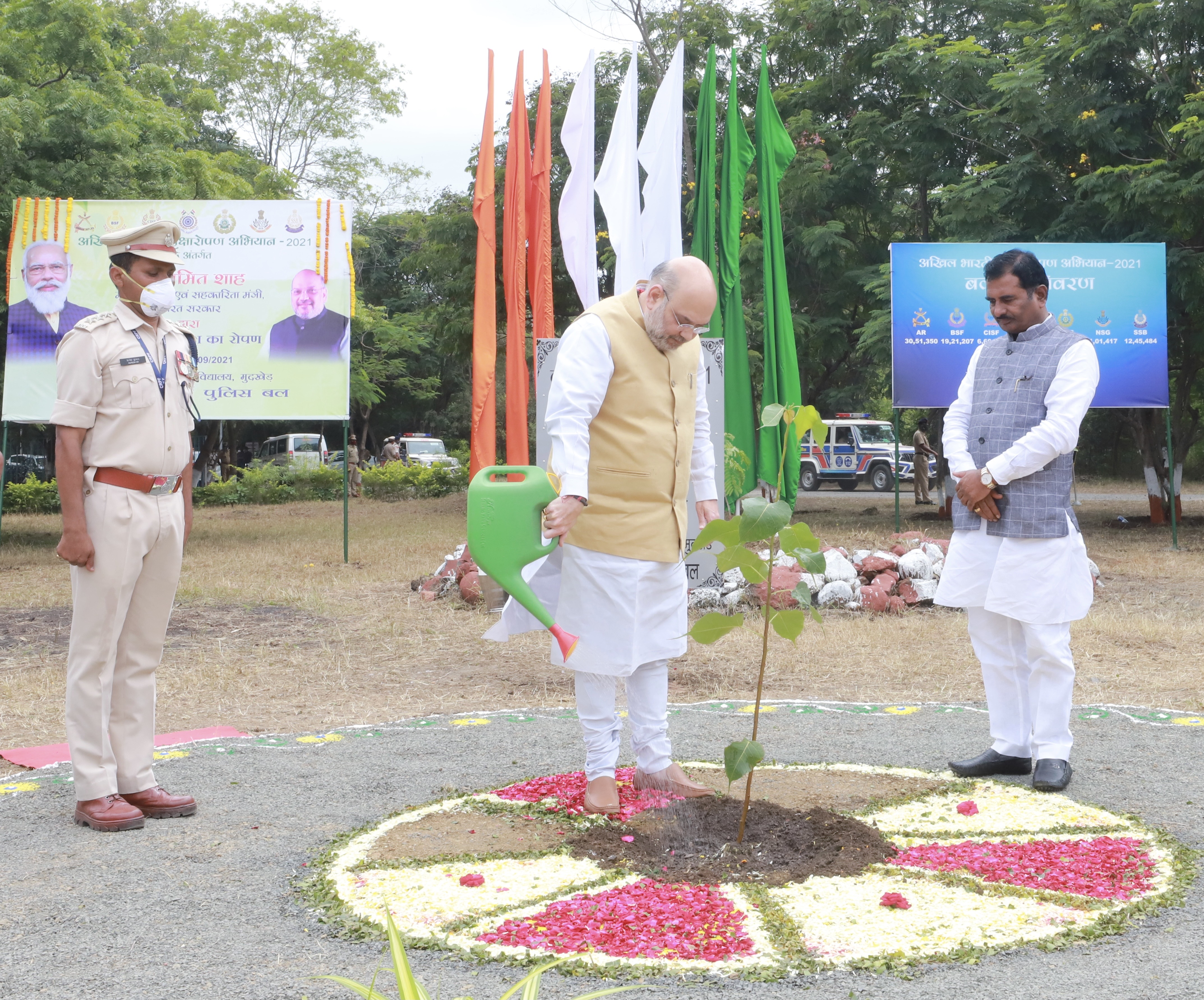Union Minister of Home Affairs and Minister of Cooperation Shri Amit Shah planted 10 millionth sapling at CRPF Training Centre in Nanded