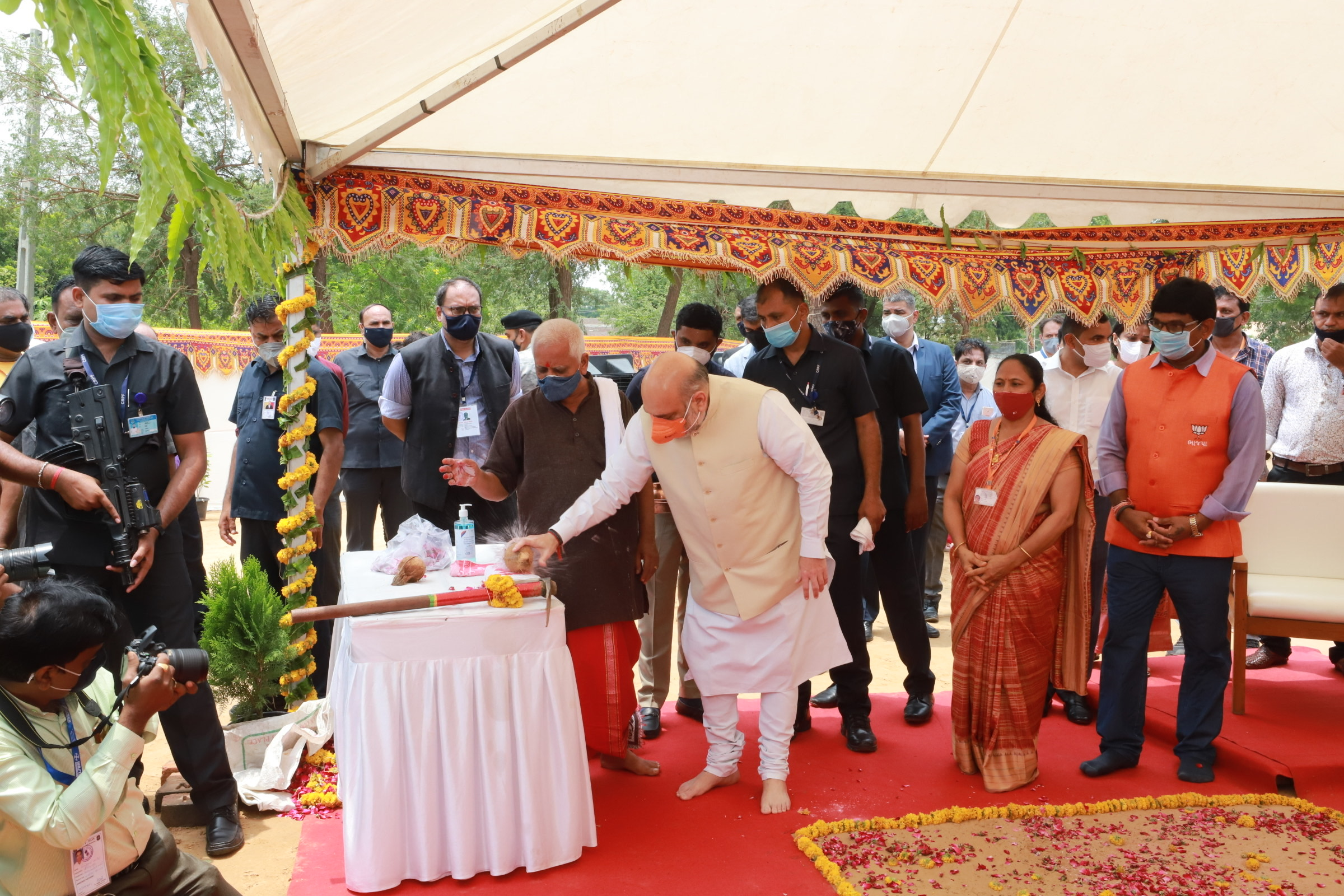 Inaugurating various development projects
