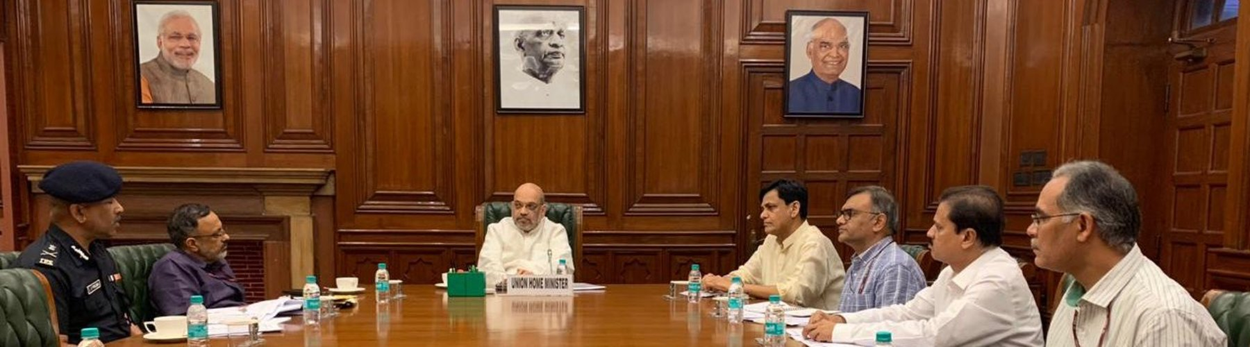 UNION HOME MINISTER SHRI AMIT SHAH CHAIRS A HIGH LEVEL MEETING IN NEW DELHI TO REVIEW THE CURRENT FLOOD SITUATION ON JULY 13, 2019. MINISTER OF STATE SHRI NITYANAND RAI, HOME SECRETARY SHRI RAJIV GAUBA AND OTHER OFFICIALS CAN BE SEEN.