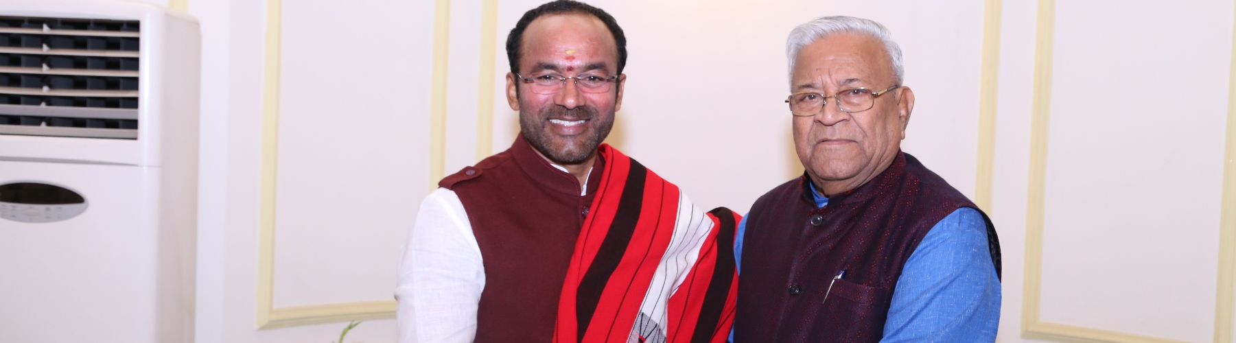 The Governor of Nagaland, Shri Padmanabha Acharya, meets Union Minister of State for Home Affairs, G Kishan Reddy, on July 15, 2019, in New Delhi.