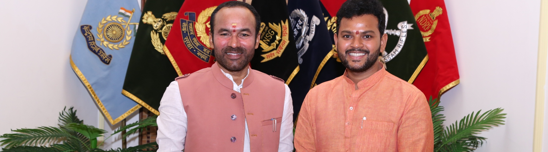 Member of Parliament Shri Mohan Naidu meets Union Minister of State or Home Affairs Shri G Kishan Reddy in New Delhi on 17th July, 2019.