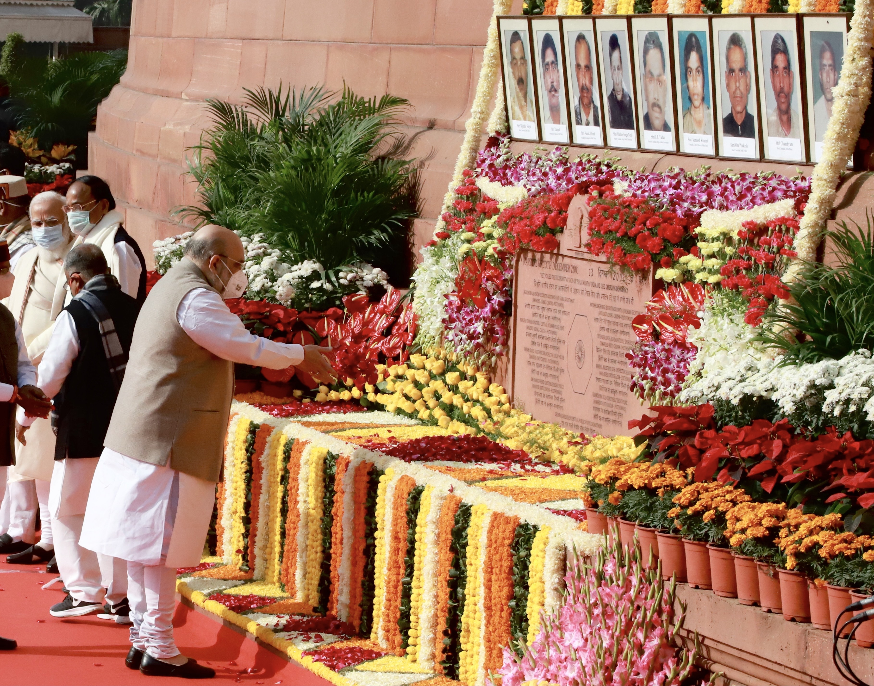 Shri Amit Shah paying floral tributes to Martyrs