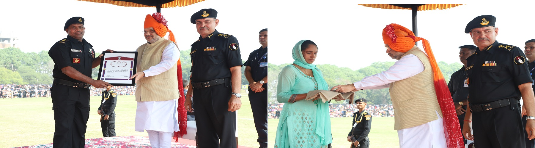 Union Minister of Home Affairs Shri Amit Shah presenting awards for gallantry at NSG Raising Day celebrations in Manesar, Haryana on October 15, 2019. DG, NSG Shri S S Deshwal is also seen