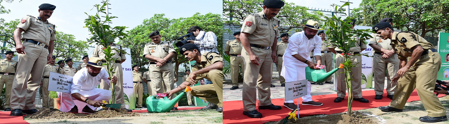 Union  Minister of State for Home Affairs Shri G. Kishan Reddy planting a sapling at the BSF Mess premises on the occasion of World Environment Day on June 05,2019 in New Delhi. Senior Officers of BSF are also seen.