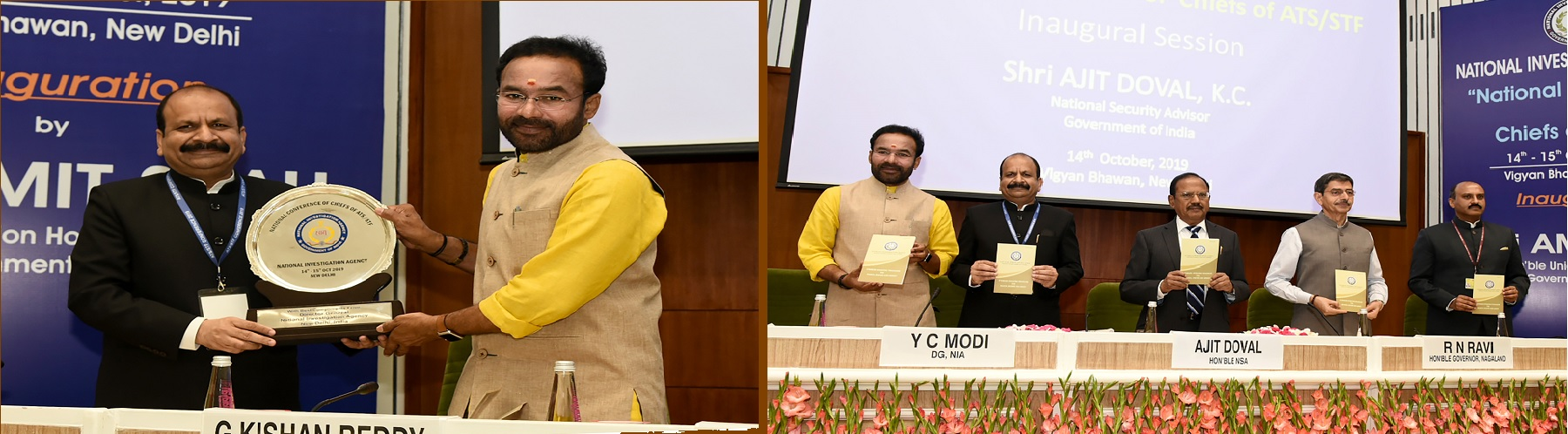 The Minister of State for Home Affairs Shri G. Kishan Reddy at the National Conference of Chiefs of ATS/STFs organised by NIA in New Delhi on 14 October, 2019.
