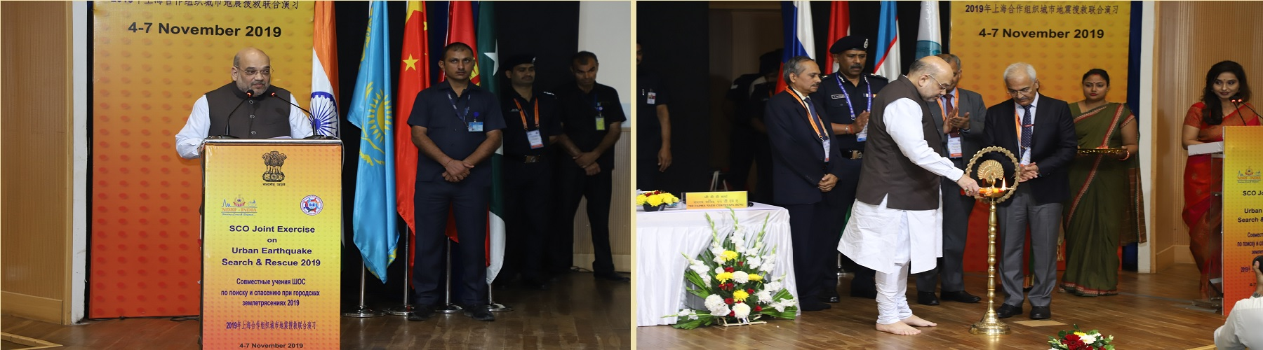 Union Minister for Home Affairs, Shri Amit Shah addressing the inaugural session of the Shanghai Cooperation Organization (SCO) Joint Exercise on Urban Earthquake Search & Rescue (SCOJtEx)-2019 in New Delhi, on November 4, 2019.