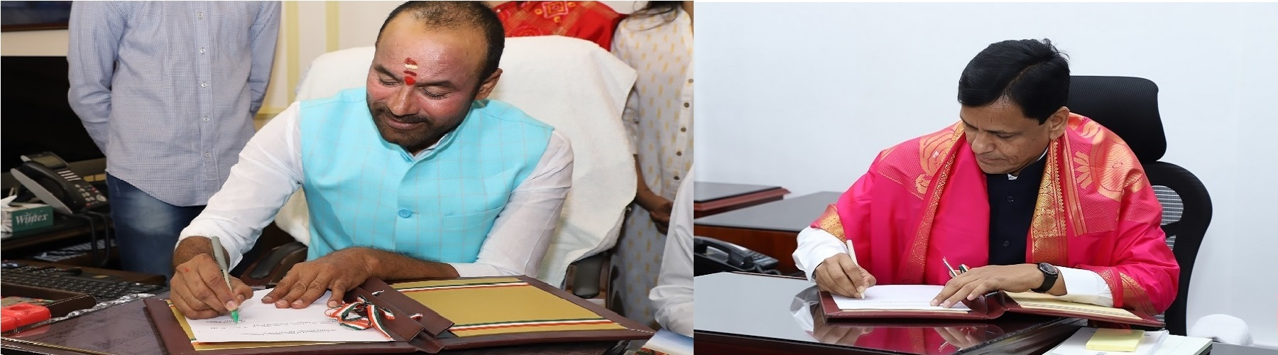 Shri G. Kishan Reddy and Shri Nityanand Rai taking charge of office of Union Minister of State for Home Affairs in New Delhi on Saturday, June 1, 2019