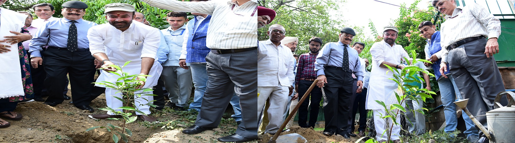 Union Minister of State for Home Affairs Shri G. Kishan Reddy planting a sapling at the  Telangana Bhawan, New Delhi on the occasion of World Environment Day on June 05,2019 .