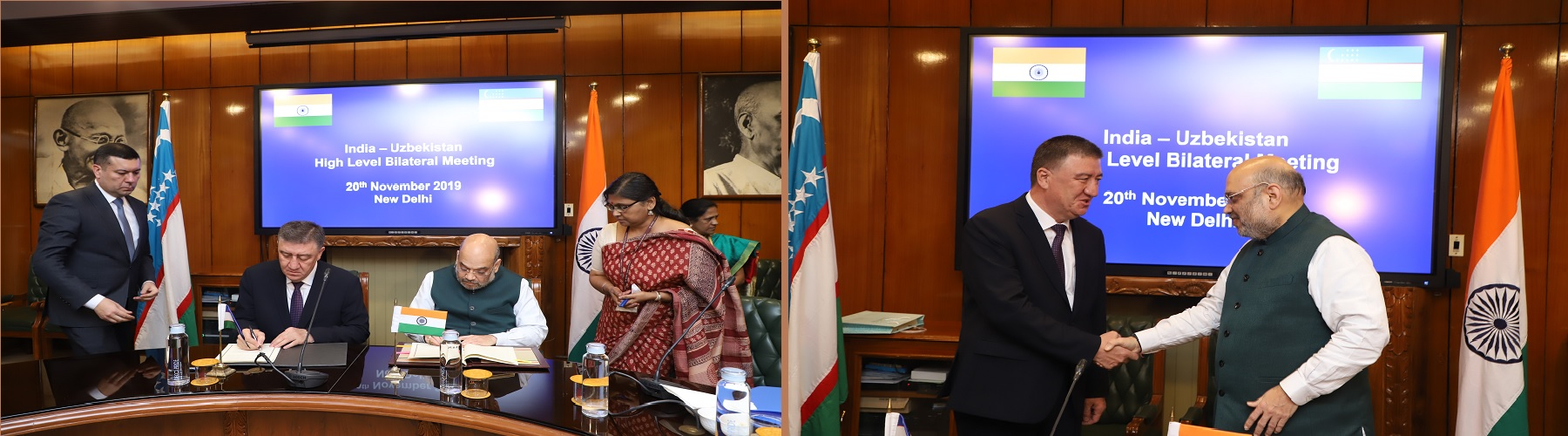 A delegation from Uzbekistan, led by Minister of Internal Affairs, Mr. Pulat Bobojonov, met the Indian delegation, led by Union Minister for Home Affairs, Shri Amit Shah, and signed the Security Cooperation Agreement, in New Delhi, on November 20, 2019.