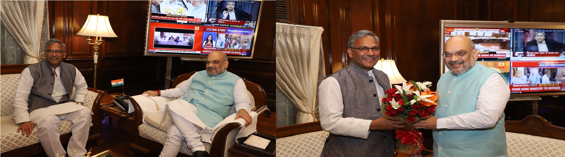 Chief Minister of Uttrakhand,  Shri Trivendra Singh Rawat  calling on the Union Home Minister, Shri Amit Shah on  June 1, 2019 in New Delhi.