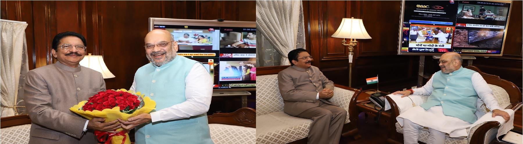 श्री विद्यासागर रॉव, राज्यपाल, महाराष्ट्र  01 जून, 2019 को नई दिल्ली में श्री अमित शाह, केन्द्रीय गृह मंत्री से मुलाकात करते हुए।