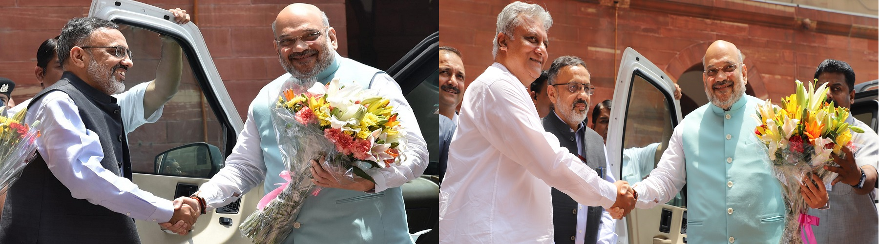 On reaching his office on Saturday, June 1, 2019 in North Block, New Delhi, Mr. Amit Shah, Union Home Minister welcomed by Mr. Rajiv Gauba, the Central Home Secretary and other officers.