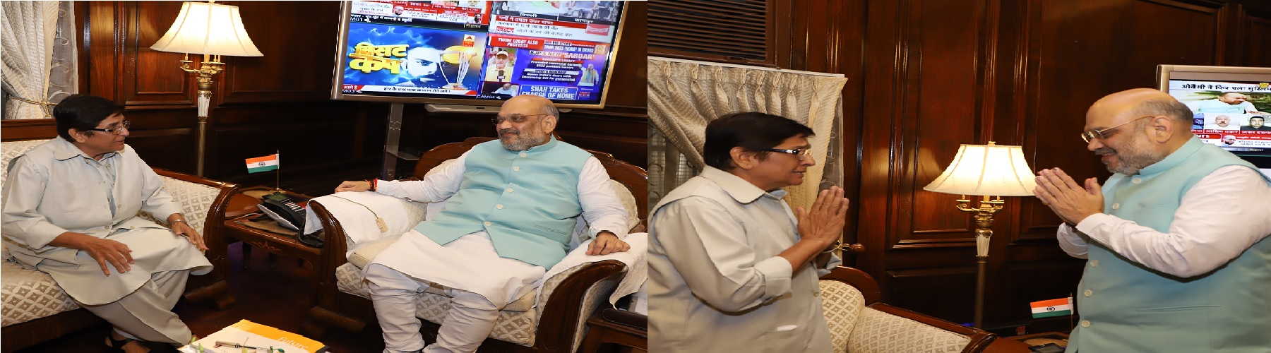 Governor of Puducherrry, Dr. Kiran Bedi calling on the Union Home Minister, Shri Amit Shah on June 1, 2019 in New Delhi.