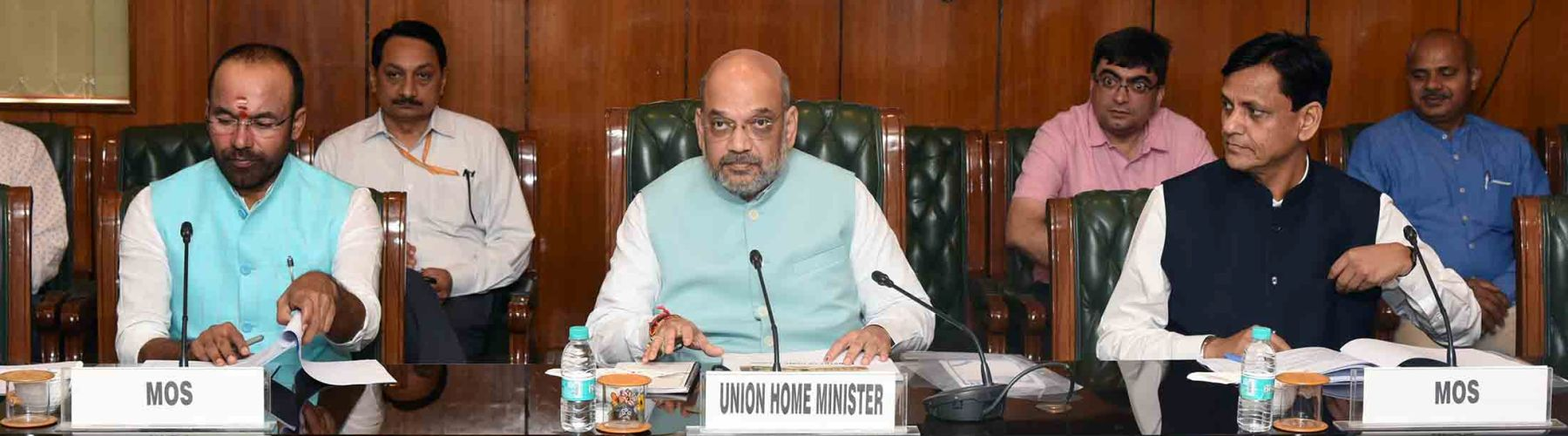 Union Home Minister,Shri Amit Shah chairing a review meeting with senior officers of MHA on June 1, 2019 in New Delhi. The Union Ministers of State for Home Affairs, G. Kishan Reddy and Shri Nityanand Rai are also seen.