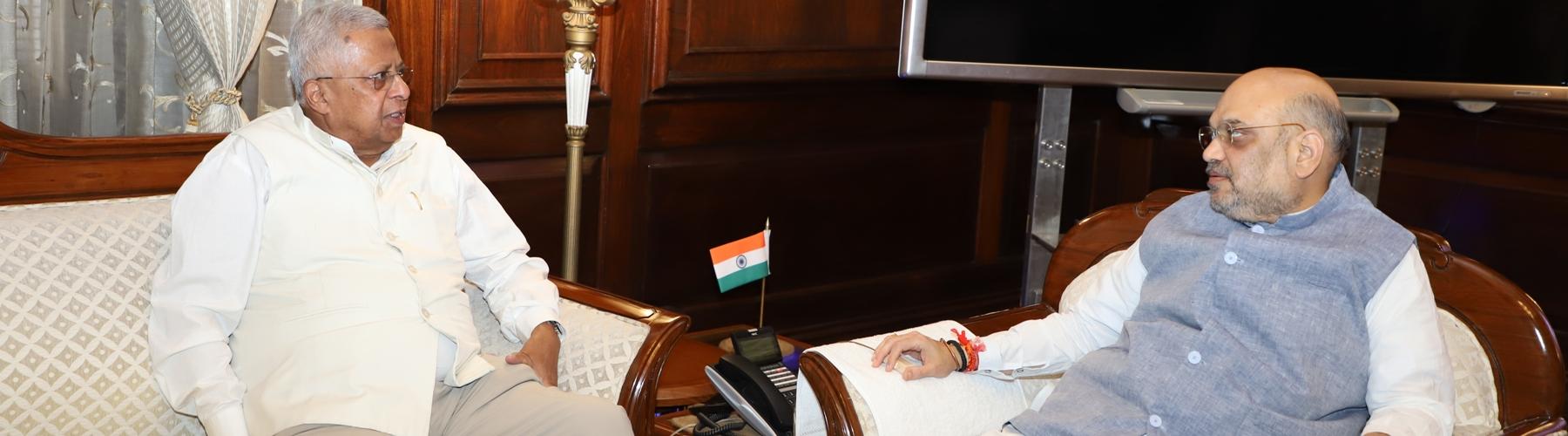The Governor of Meghalaya Shri Tathagata Roy calling upon Union Home Minister Shri Amit Shah in New Delhi on June 14, 2019.